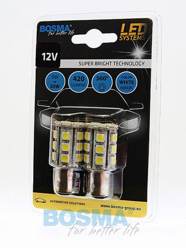 2x Ampoules P21/5W BAY15D 24XSMD 5050 LED 420lm 12V